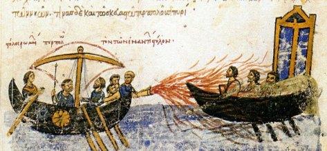 Uso del fuego griego, según un manuscrito bizantino.