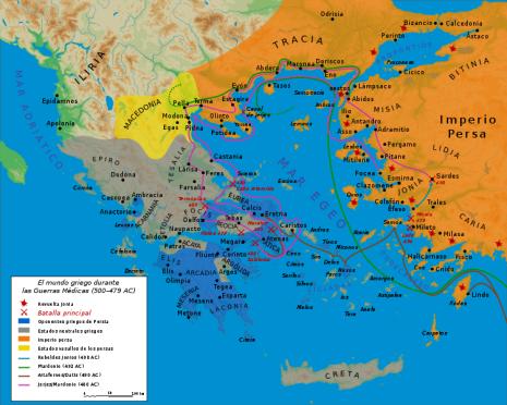 Mapa Guerras Médicas (500 - 479 a.C.)