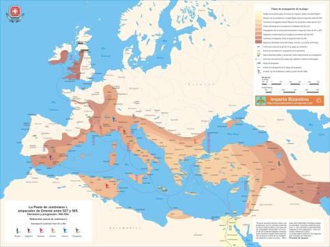 La plaga de Justiniano_mapa