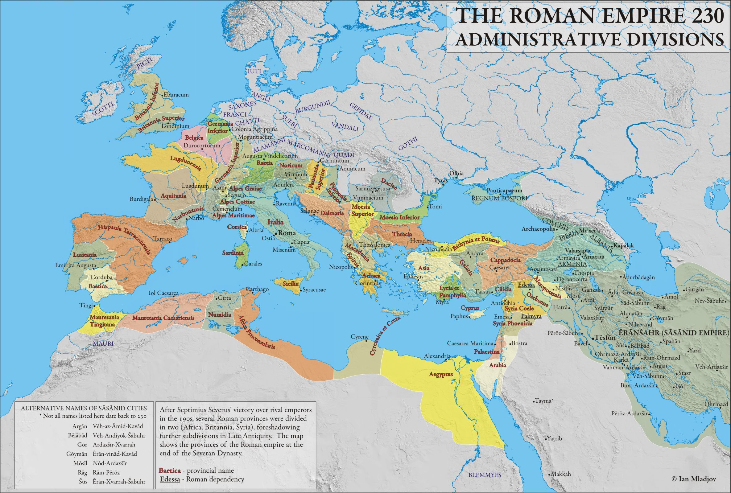 Mapa Imperio romano 230 d.C.