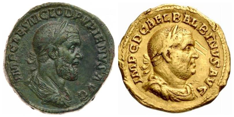 Monedas de los emperadores Pupieno y Balbino