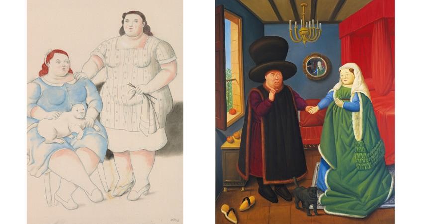 Botero_60 años de pintura_1 Two sisters 2019 134x102cm
